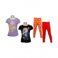 Deals, Discounts & Offers on Kid's Clothing - Little Stars Multicolour Cotton Top and Bottom Set - Set of 2