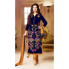 Deals, Discounts & Offers on Women Clothing - WIN FASHION Blue Cotton Semi Stitched Suit
