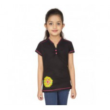 Deals, Discounts & Offers on Kid's Clothing - Black Cotton V Neck T Shirt