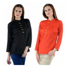 Deals, Discounts & Offers on Women Clothing - Combo of Black and Orange Full Sleeved Tunics