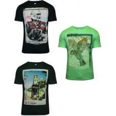 Deals, Discounts & Offers on Men Clothing - Hefty Graphic Print  Round Neck Multicolor T-Shirt