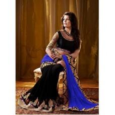 Deals, Discounts & Offers on Women Clothing - Brahmani Fabrics Black Georgette Saree