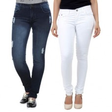 Deals, Discounts & Offers on Women Clothing - Haltung Blue And Black Denim Skinny Fit Jeans Pack Of 2