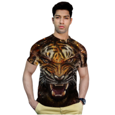 Deals, Discounts & Offers on Men Clothing - Effit Tiger White 3D T-Shirt