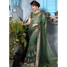 Deals, Discounts & Offers on Women Clothing - Needle Impression Green Embroidered Saree