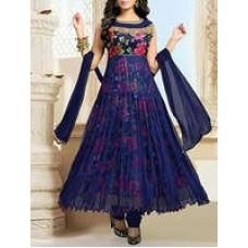 Deals, Discounts & Offers on Women Clothing - Navy blue top net bottom santoon dupatta chiffon dress material