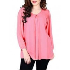 Deals, Discounts & Offers on Women Clothing - pink georgette regular top