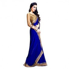 Deals, Discounts & Offers on Women Clothing - Upto 84% off on Bhuwal Blue Saree With Unstitched Blouse