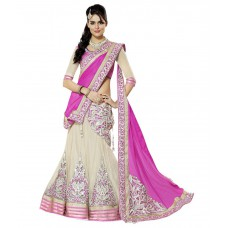 Deals, Discounts & Offers on Women Clothing - Savari Creation Beige Net Unstitched Lehenga