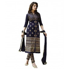 Deals, Discounts & Offers on Women Clothing - Jay Enterprise Navy Georgette Semi Stitched Dress Material