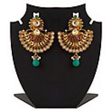 Deals, Discounts & Offers on Women - Inaya New Polki Maroon Brass Earrings For Women