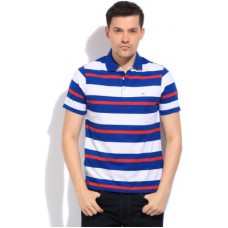 Deals, Discounts & Offers on Men Clothing - Peter England Striped Men's Polo White, Blue T-Shirt