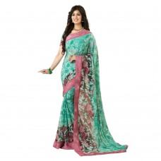 Deals, Discounts & Offers on Women Clothing - Patij Fashion Printed Sweet Ayesha Bollywood Chiffon Saree With Blouse