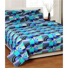 Deals, Discounts & Offers on Home Decor & Festive Needs - Homezaara Multicolour Printed Cotton Double Bedsheet With Two Pillow Covers