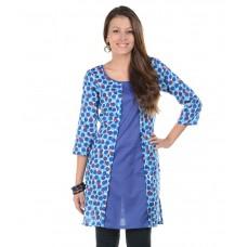 Deals, Discounts & Offers on Women Clothing - Sritika Blue Printed Cotton 3/4th Sleeves Medium Kurti