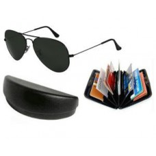 Deals, Discounts & Offers on Men - Trendy Black Classic Aviator Style Sunglasses With Aluminium Wallet