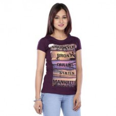 Deals, Discounts & Offers on Women Clothing - Vishal Mega Mart Wine Cotton Printed Round Neck Top