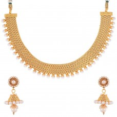 Deals, Discounts & Offers on Women - YouBella Traditional Jhumki Pearl Temple coin Necklace Set