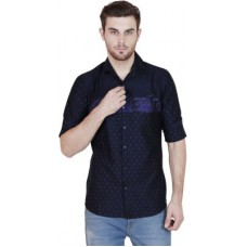 Deals, Discounts & Offers on Men Clothing - Human Steps  Printed Casual Dark Blue Shirt