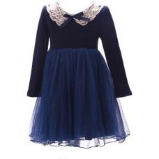 Deals, Discounts & Offers on Kid's Clothing - Sheena Girl's Maxi Dark Blue Dress