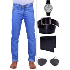Deals, Discounts & Offers on Men - Flat 59% off on X-Cross Men's Cotton Jeans & Accessories Combo