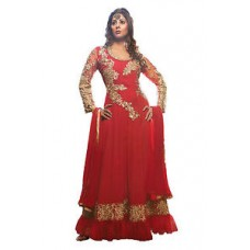 Deals, Discounts & Offers on Women Clothing - Designer Embroidered Red Net Anarkali Suit