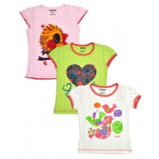 Deals, Discounts & Offers on Kid's Clothing - Hunch Cotton T Shirts For Girls Pack Of 3