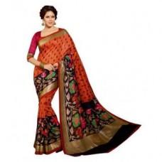 Deals, Discounts & Offers on Women Clothing - Janasya Multicolour Bhagalpuri Silk Printed Wedding Wear Saree