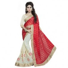 Deals, Discounts & Offers on Women Clothing - Aashvi Creation womens Faux Georgette and Brasso Party Wear Saree