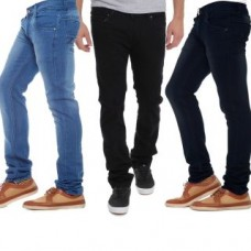 Deals, Discounts & Offers on Men Clothing - STYLOX Pack of 3 Black and Blue Straight Fit Mens Jeans