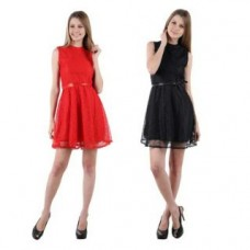 Deals, Discounts & Offers on Women Clothing - Raabta Womens Black and Red Net Short Dress Set of Two