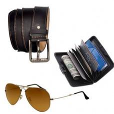 Deals, Discounts & Offers on Men - Stylox Combo of Men's Belt, Card Holder and Sunglass