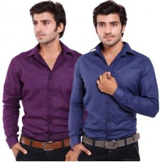 Deals, Discounts & Offers on Men - Deeksha Men's Solid Casual Blue Shirt