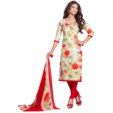 Deals, Discounts & Offers on Women Clothing - Salwar Studio Synthetic Floral Printed Dress Material with Dupatta, white and red