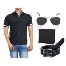 Deals, Discounts & Offers on Men - Branded Half Sleeves Cotton Shirt With Black Accessories