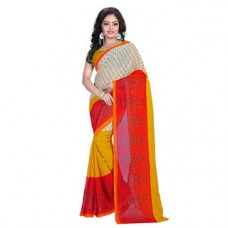 Deals, Discounts & Offers on Women Clothing - Blossom Cream and Yellow, Maroon Printed saree