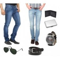Deals, Discounts & Offers on Men - Stylox Set Of 2 Men Jeans With Watch, Cardholder, Aviators, Belt And Wallet