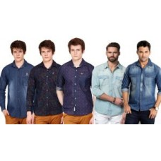 Deals, Discounts & Offers on Men Clothing - Combo Of 5 Koutons Assorted Denim Shirts For Men