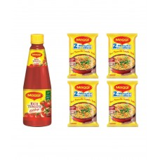 Deals, Discounts & Offers on Food and Health - Maggi Rich Tomato Ketchup 1 kg + Free Maggi Masala Noodles - Pack of 4