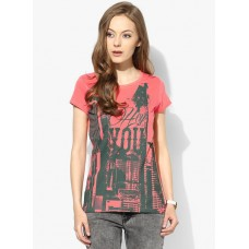 Deals, Discounts & Offers on Women Clothing - People Peach Graphic T Shirt