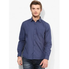 Deals, Discounts & Offers on Men Clothing - Pepe Jeans Blue Solid Regular Fit Casual Shirt
