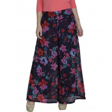 Deals, Discounts & Offers on Women Clothing - Shopingfever Nevy Blue & Red Floral Printed Georgette Palazzos