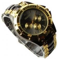 Deals, Discounts & Offers on Men - Chrono Wrist Watch Black Golden Beauty For Men
