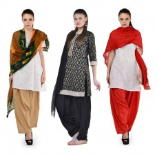 Deals, Discounts & Offers on Women Clothing - Radhika Cotton Patialas Pack Of 3