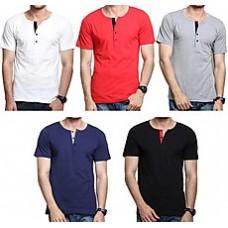 Deals, Discounts & Offers on Men Clothing - Rigo Combo Of 5 Plain Men T Shirts