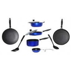 Deals, Discounts & Offers on Home & Kitchen - Apex 10 Pcs Blue Aluminum Cookware Set @ Rs.1799.