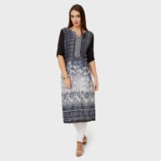 Deals, Discounts & Offers on Women - GLOBAL DESI Round Neck Straight Printed Kurta
