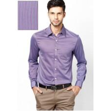 Deals, Discounts & Offers on Men Clothing - ARROW PURPLE STRIPED SLIM FIT FORMAL SHIRT
