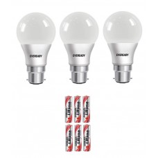Deals, Discounts & Offers on Electronics - Eveready 9W (Pack of 3) 6500K 100LUMENS/W Cool Day Light LED Bulb with Free Battery