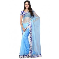 Deals, Discounts & Offers on Women Clothing - FABDEAL SOLID BLUE SAREE